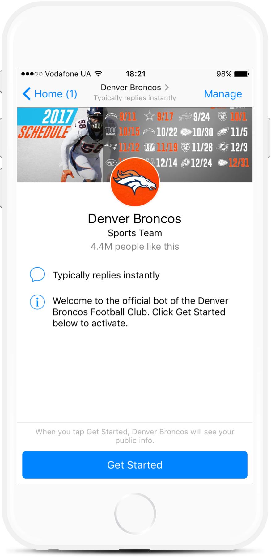 Denver Broncos bot screenshot