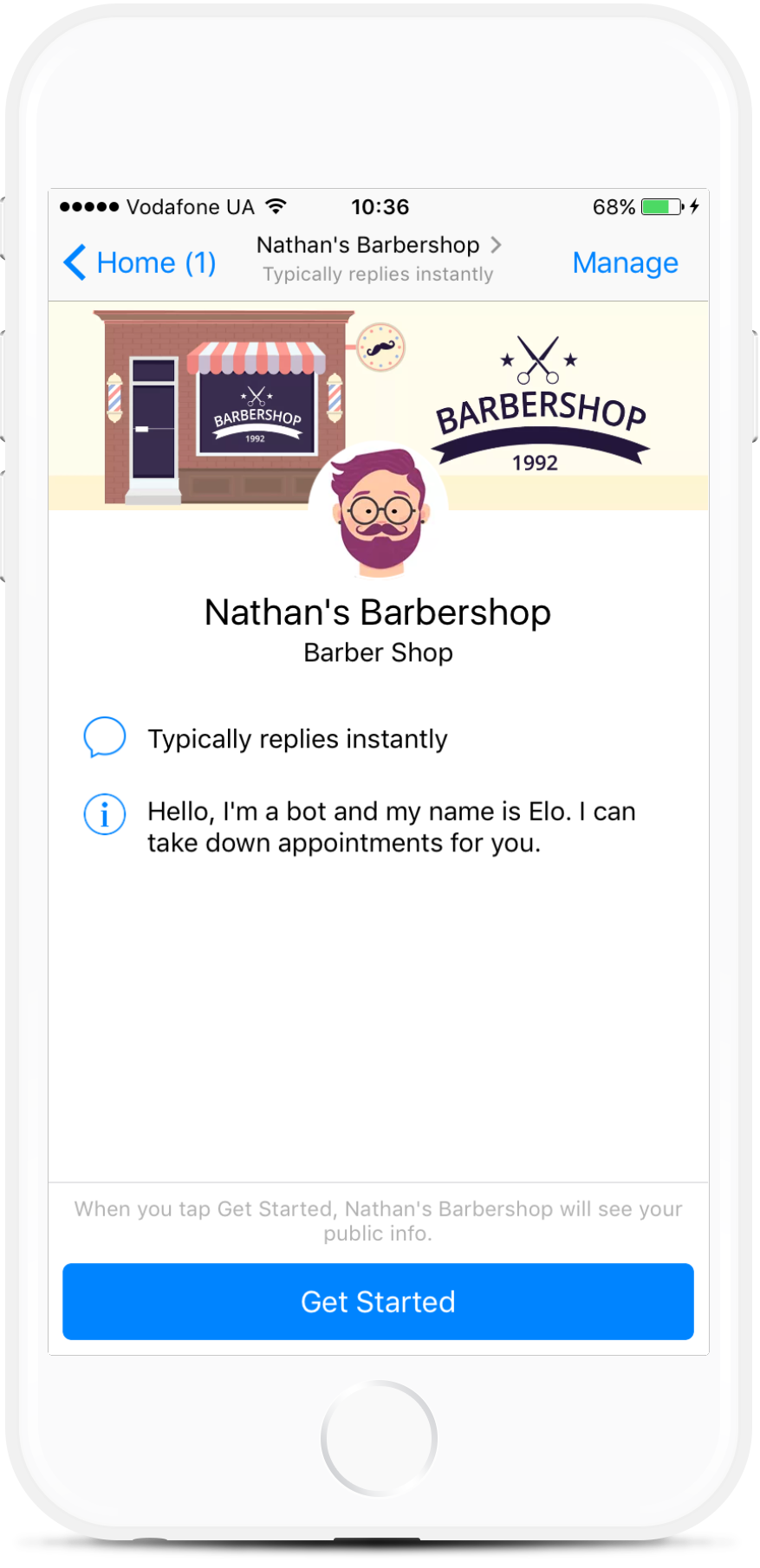 Nathan's Barbershop bot screenshot