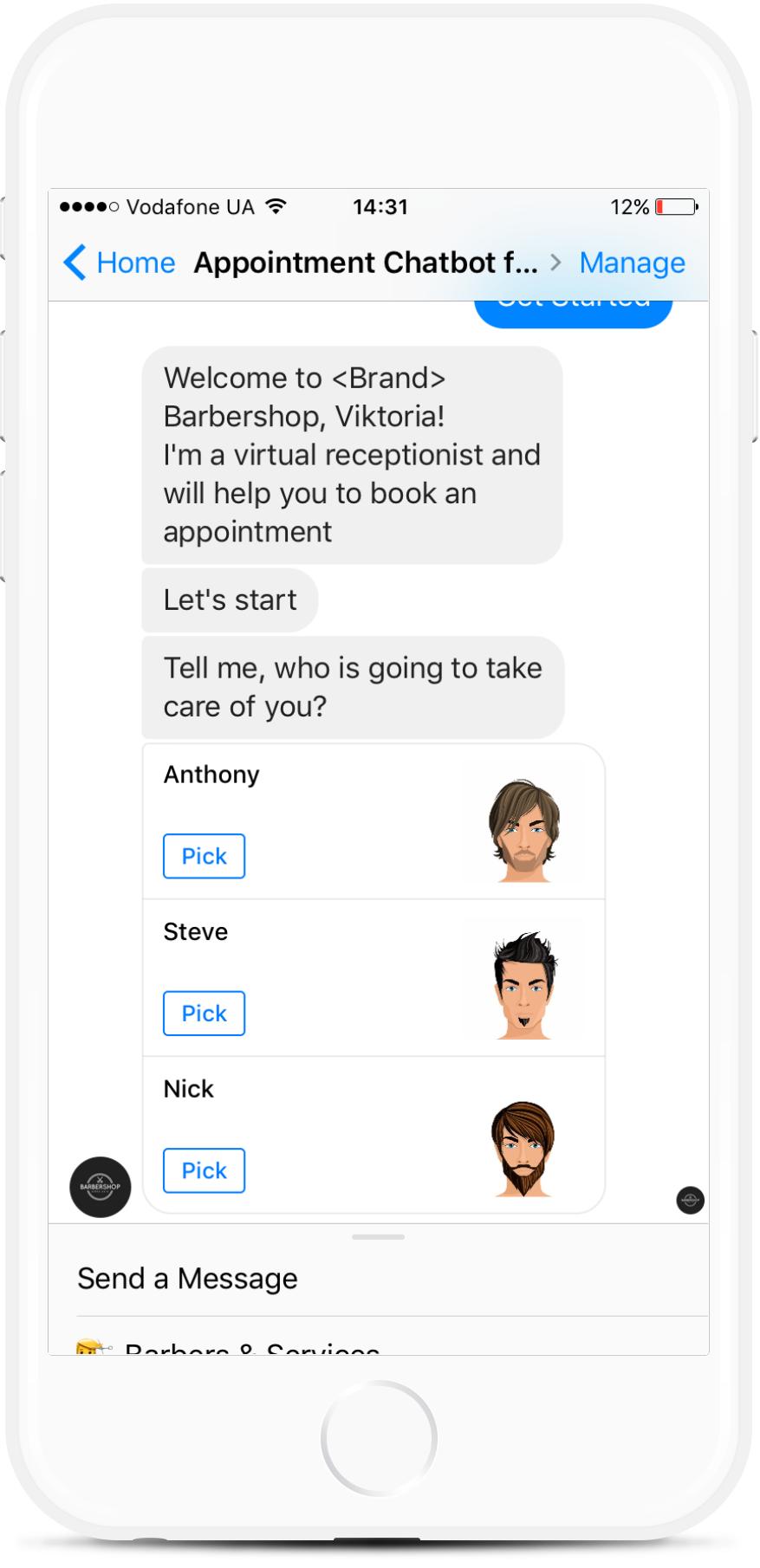 Facebook Appointment Chatbot for Barbershops for $25   #messenger #bottemplates #bots #chatbots #aibots #fbmessenger #botmakers