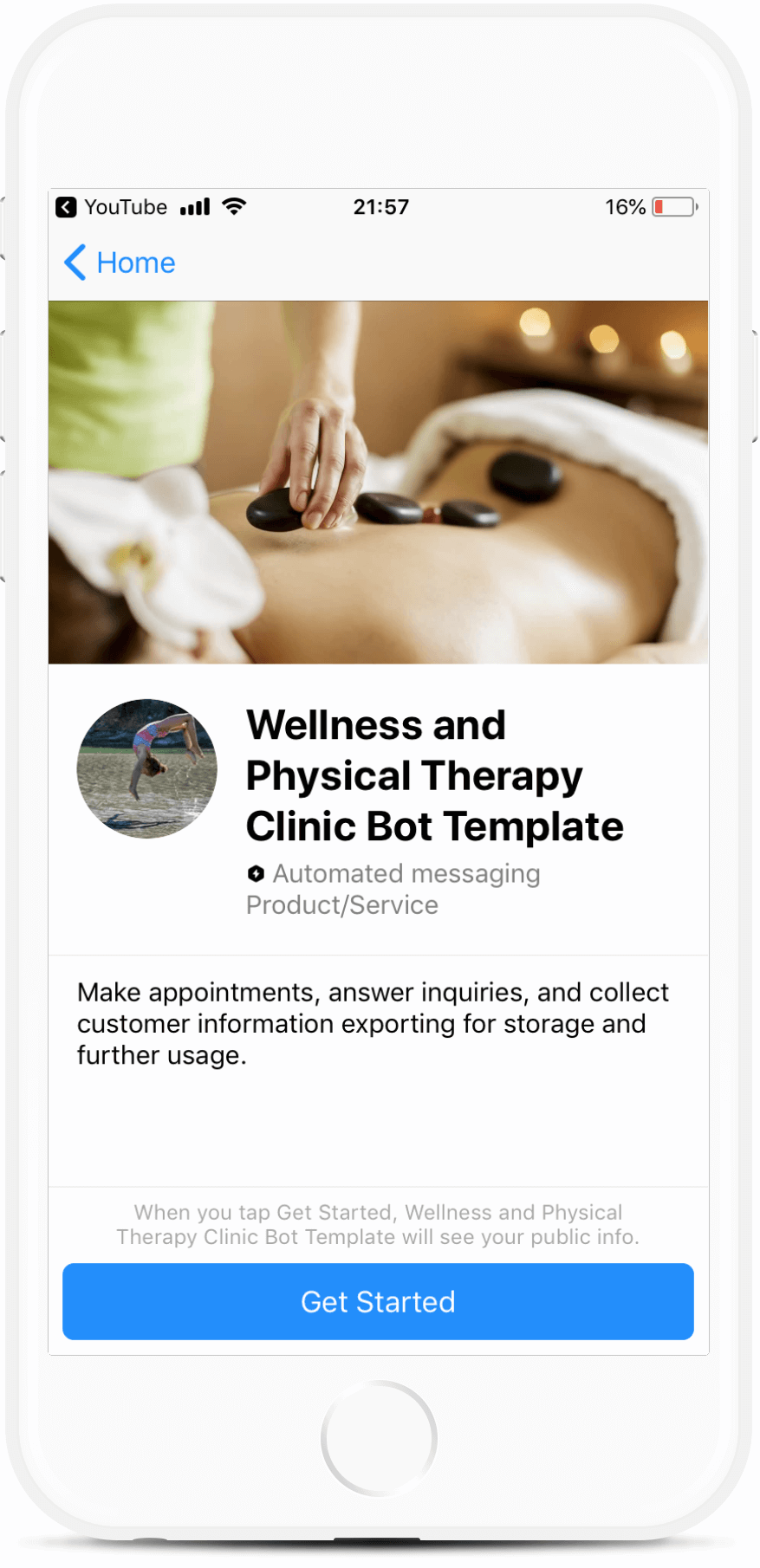 Wellness and Physical Therapy Services Messenger Bot - Botmakers