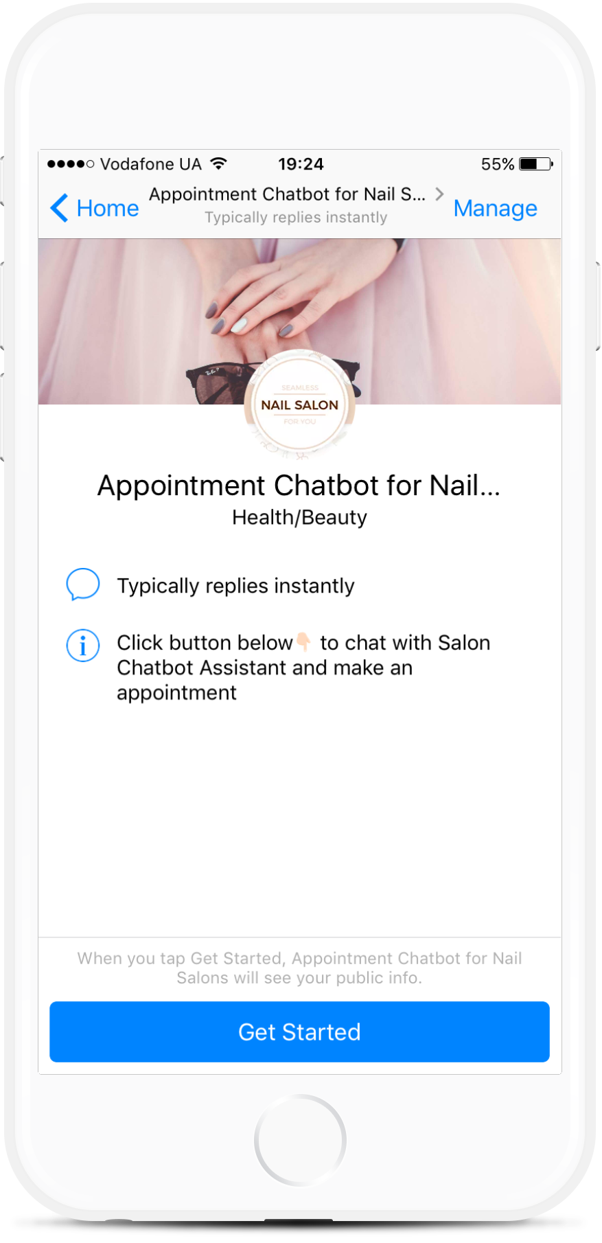 Facebook Messenger Appointment Chatbot for Nail Salons