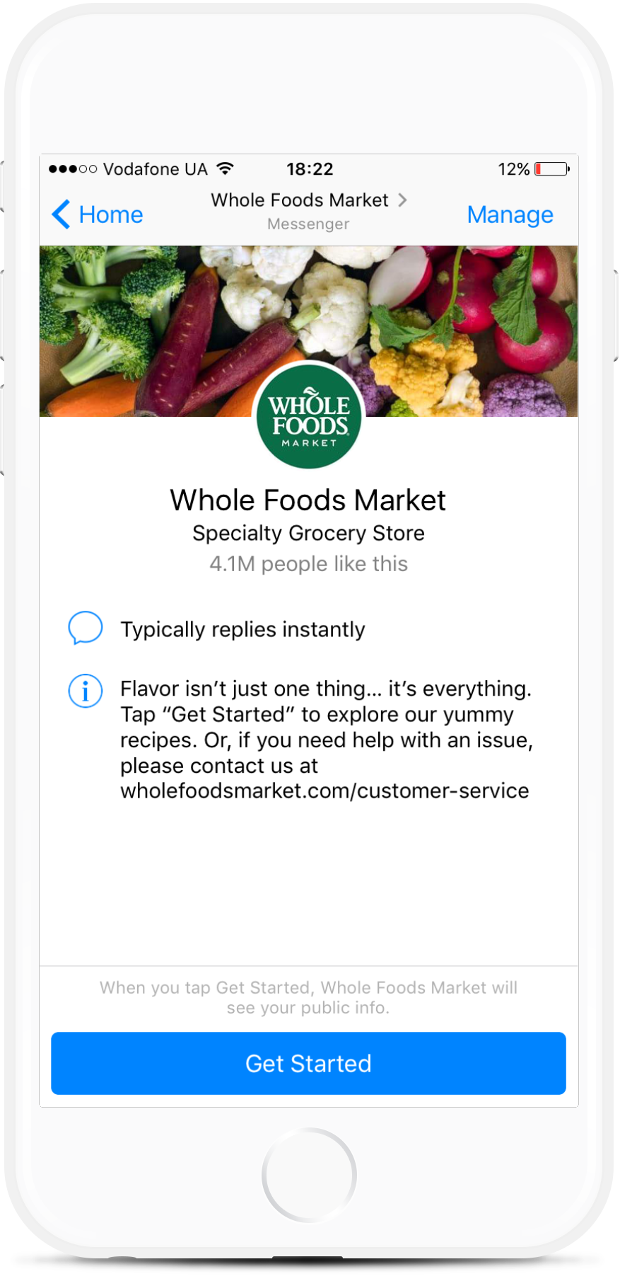 Facebook Bot for Grocery and Food Stores