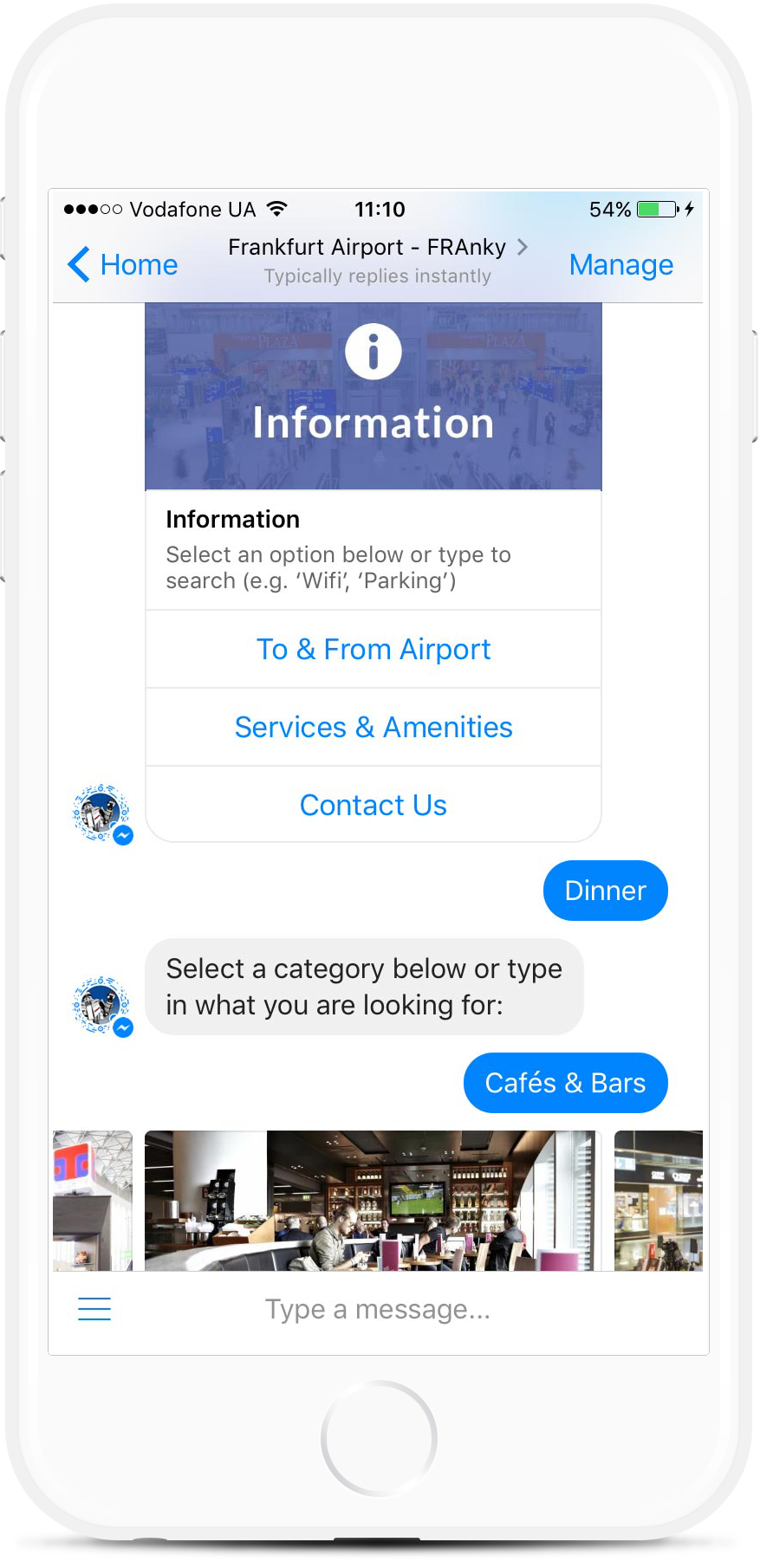 Airport Information Desk Facebook Bot