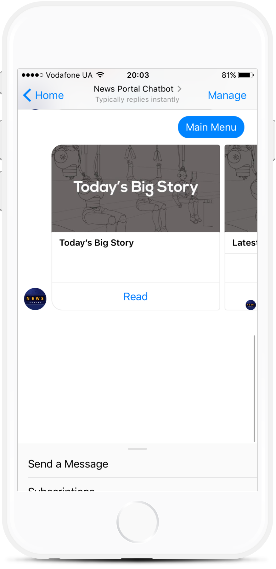 News Facebook Chatbot for Publications for $39   #messenger #bottemplates #bots #chatbots #aibots #fbmessenger #botmakers