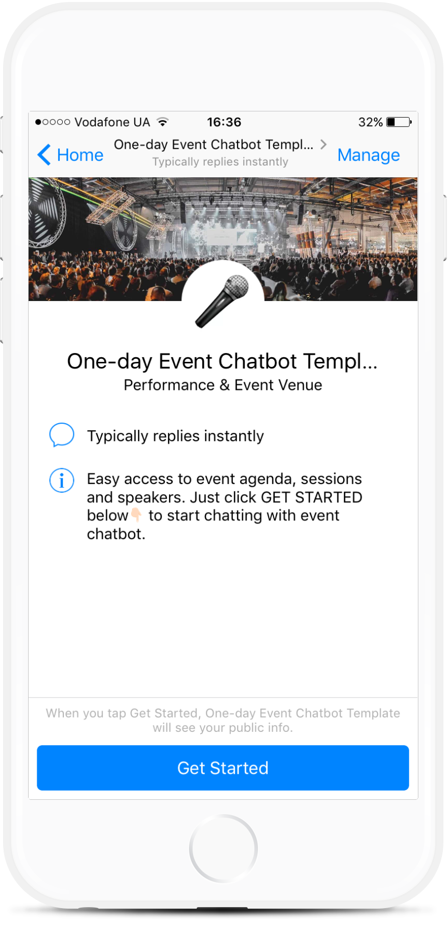 One-day Event Chatbot for Facebook Messenger from $15/mo