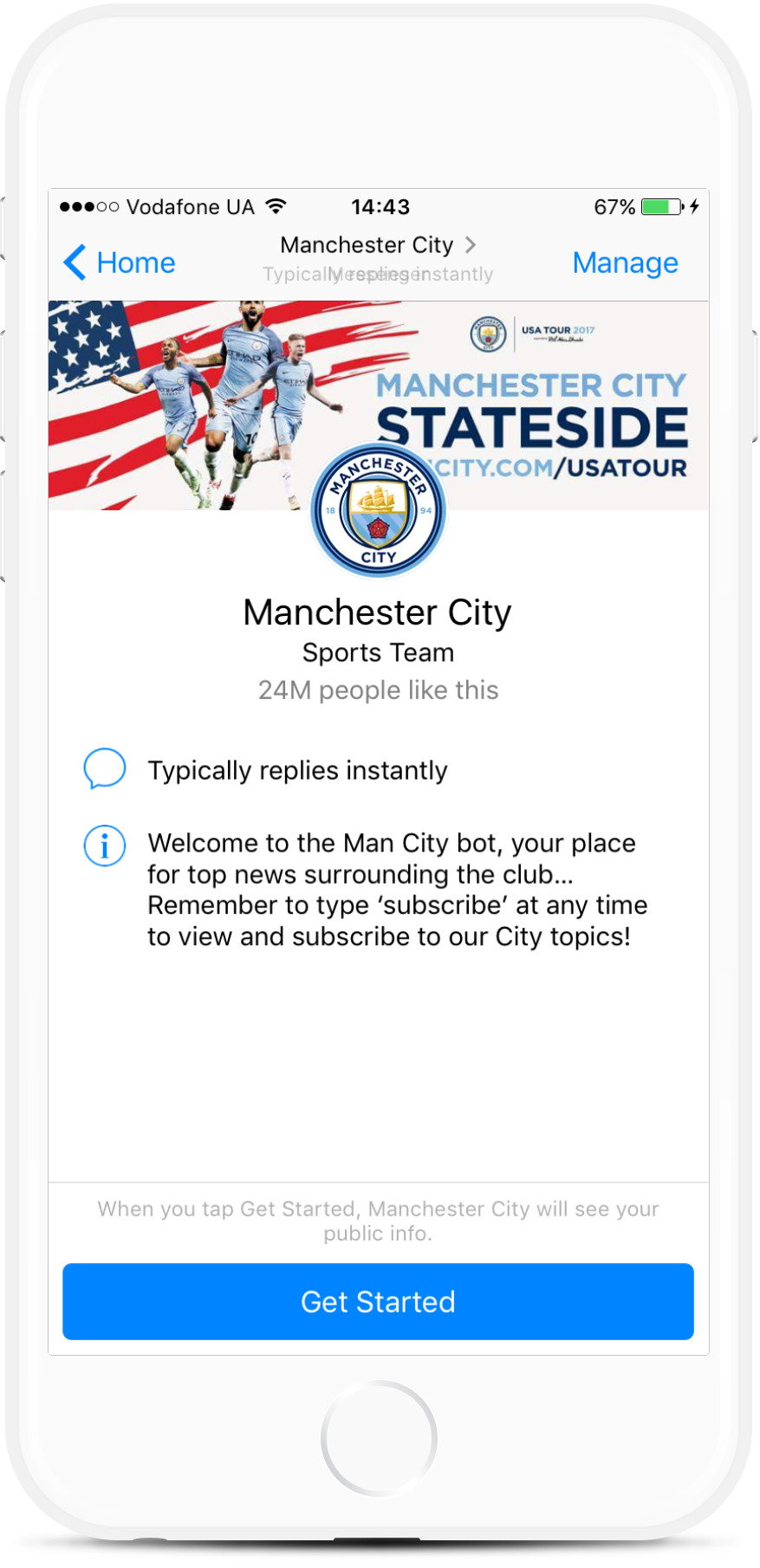 Facebook Messenger Bot Template for Sports Clubs and Teams